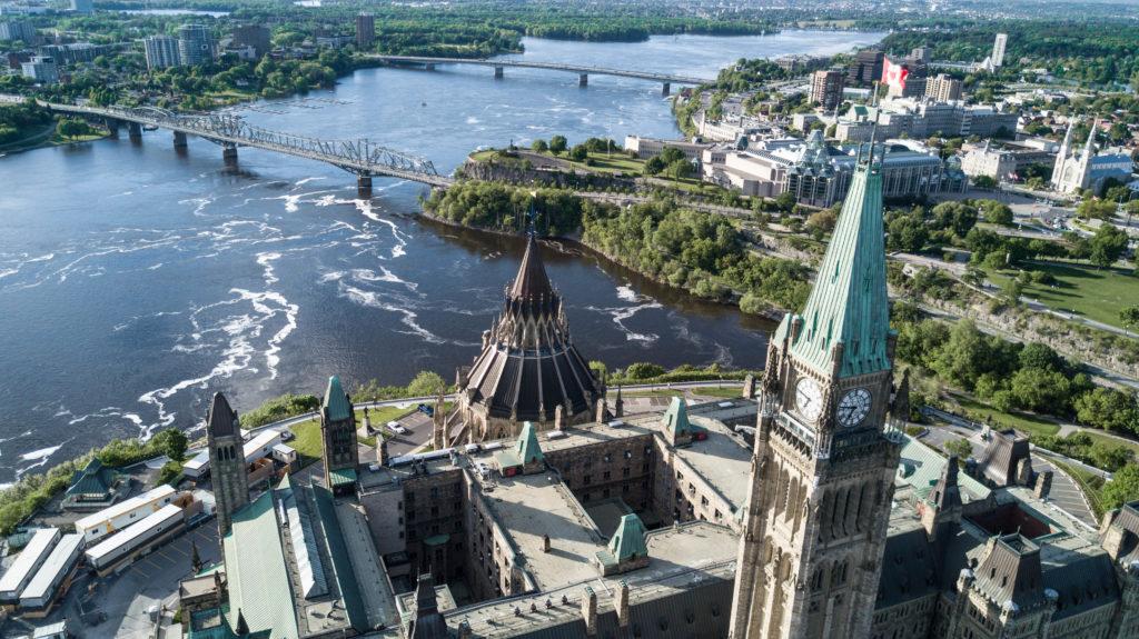 Vue aérienne sur le Parlement