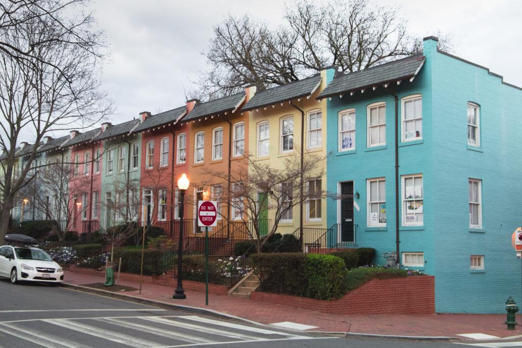 Les maisons colorées de Georgetown à Washington DC